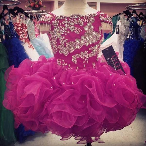 Cute Cupcake Flower Girls Dresses Crystals Short Little Girls Pageant Infants Kids Formal Wear 2019 Organza Ruffled Glitz Fuchsia Ball Gown