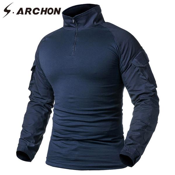 S.ARCHON Tactique À Manches Longues T Shirt Hommes Marine Bleu Camouflage Solide Armée De Combat Chemise Paintball Vêtements