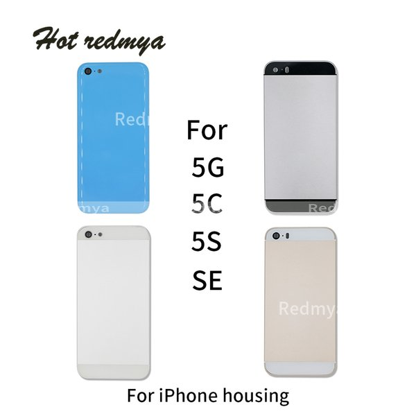 Full Housing Back Battery Door Cover For iPhone 5 5G 5C 5S SE Metal Battery Back Case Replacement Part With Side Button + Sim Tray
