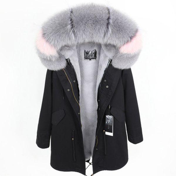 2019 Maomaokong brand Grey fox fur trim hoody grey rex rabbit fur lining black long parkas women snow jackets