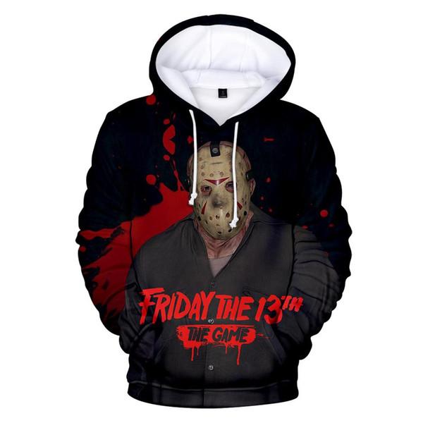 hot Hip-hop bloody movie Friday 13th 3D hooded sweatshirt print men and women Fashion men's O-neck shirt 3D hooded sweatshirt
