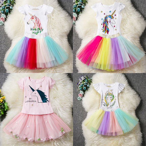 Baby Mädchen Einhorn Outfits Kleid Kinder Top + TuTu Regenbogen Röcke 2pcs / set Cartoon 2019 Mode Boutique Kinder Kleidung Sets 6 Arten C6054