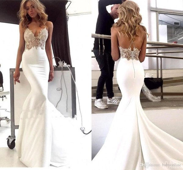 Lace Appliques Mermaid Evening Dresses Formal Special Occasion Party Gowns Prom Dress Sexy Spaghetti Strap Backless Dresses Evening Wear