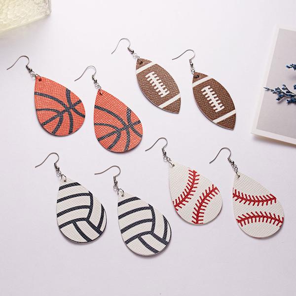 Nueva llegada pendientes de cuero de la PU de la lágrima béisbol baloncesto voleibol deporte pendiente pendiente para las mujeres niña joyería regalos