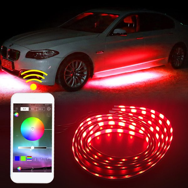 90X120 cm APP Telefone Sem Fio Carro RGB LED Strip 5050 SMD RGB LED Strip Sob O Tubo Do Carro Underglow Underbody Sistema Kit Luz de Néon