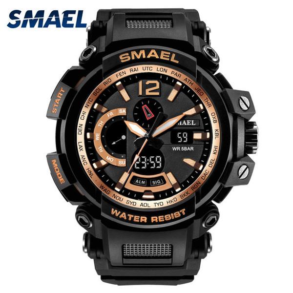 Men's Watches Gold Top Brand Luxury Wateproof Sport Wristwatches Stopwatch led Wrist Watch Digital 1702 Male Watch kol saat