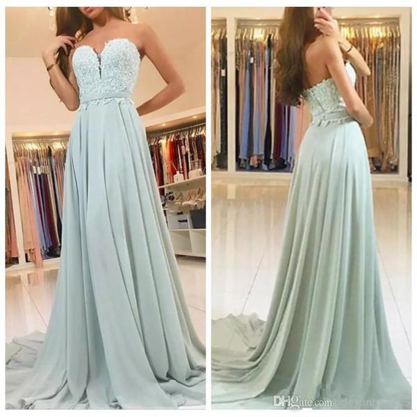2020 New Sweetheart A-Line Prom Dresses Lace Appliques Chiffon Skirt Sexy Formal Women Long Vintage Vestidos De Soiree robes de soirée