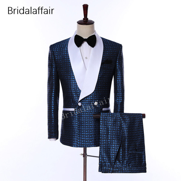 2018 Elegant Brand Shawl Lapel Wedding Mens Suit Flower Double Breasted Wedding Suits For Men Slim Fit Formal Groom Wear Tuxedos Blazer
