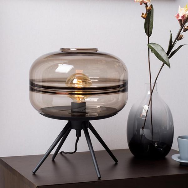 Modern American glass table lamp creative bedroom bedside lamp brown blue gray shade iron bracket reading desk lights