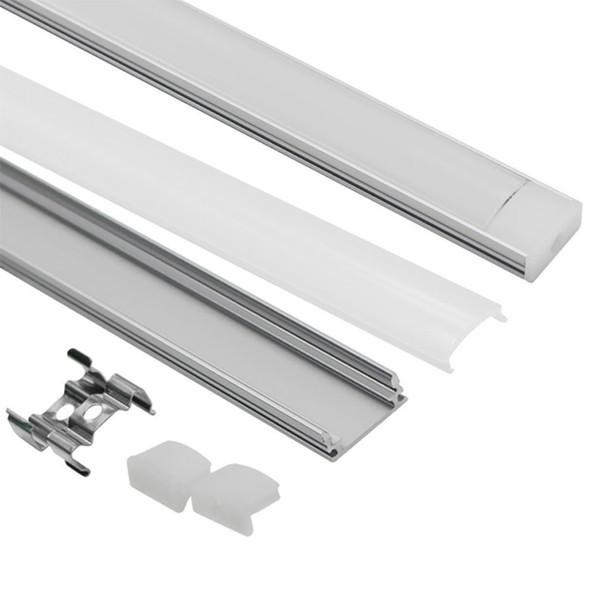 1 m U-förmiges LED-Aluminiumkanalsystem mit Abdeckung, Endkappen und Montageklammern aus Aluminiumprofil für LED-Lichtleisteninstallationen