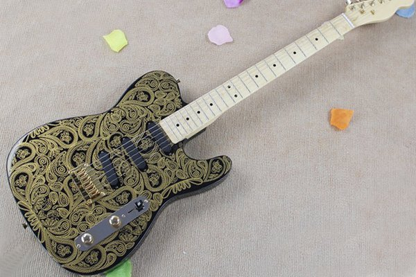 Free shipping,Factory Black Electric Guitar with Green Flower pattern,Maple Fingerboard,Gold Hardwares,String-Thru-Body,Can be customized