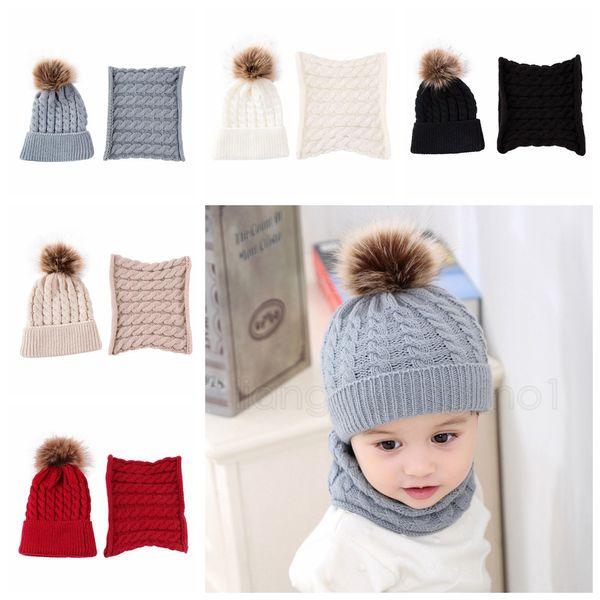 best selling 5styles Knitted fur ball Beanie Kids Winter Warm Scarf Set Autumn Cap Wool Solid Boy Girls Hat Children Hat Scarf Collar 2pcs Set FFA2882-2