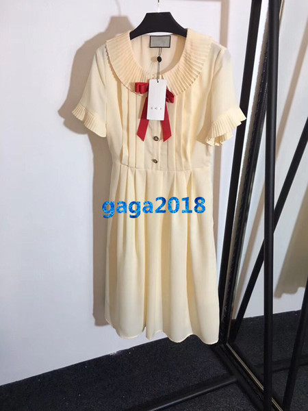 women girls shirt dress bee bow button pleated crew neck short sleeve a-line pleated midi skirt high end fashion luxury runway dresses