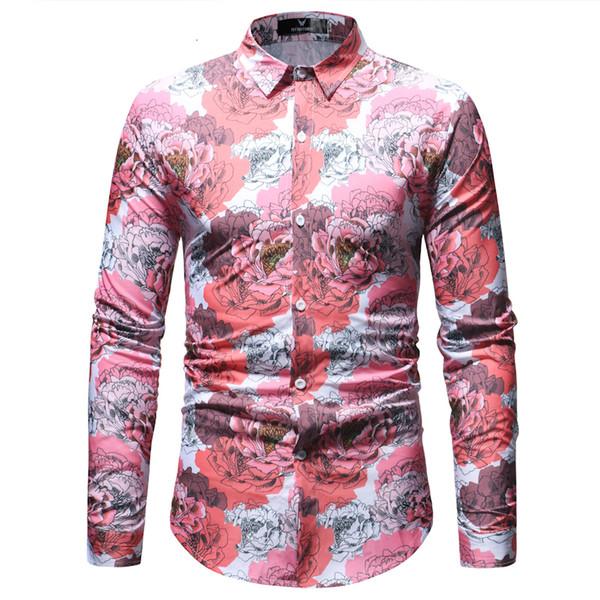 Spring Autumn Floral Print Men Shirts Long Sleeve Mens Casual Shirt Slim Men Flower Printing Dress Shirts Camisa Masculina