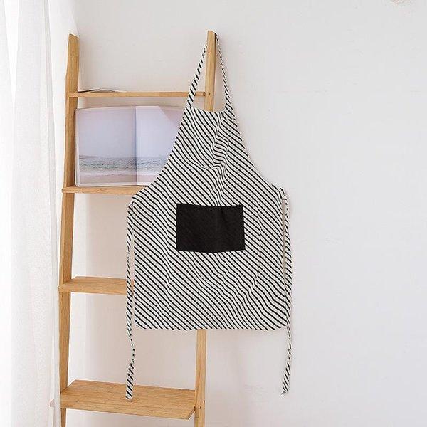 Gepunktete gestreifte Schürze aus Baumwolle und Leinen