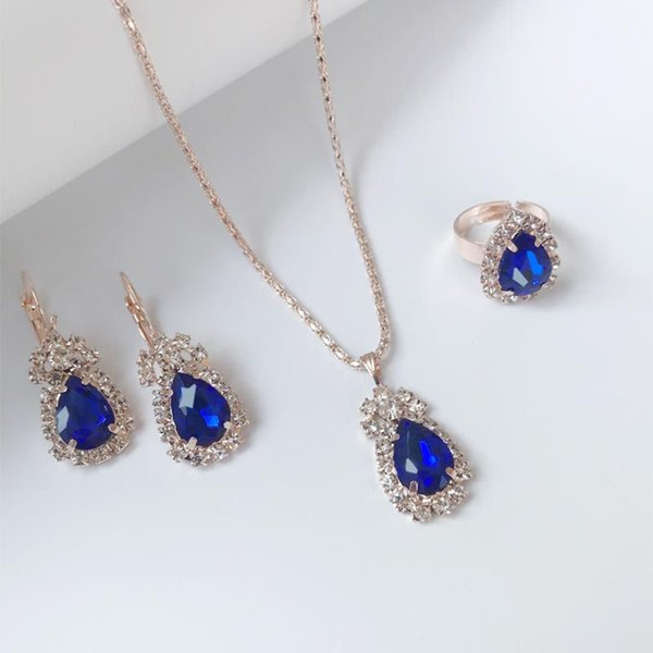 Crystal Jewelry Sets For Women Water Drop Pendant Earrings Necklace Adjustable Finger Rings Wedding Bridal Jewelry Sets Gift