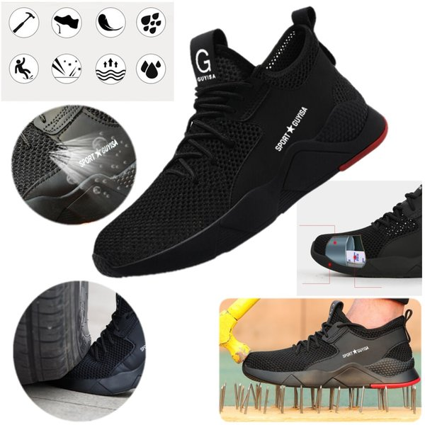 Safety Shoe Women Mens Mesh surface Steel Toe Cap Sport Outdoor Work Hiking Trail Breathable Shoes Protective Footwear Trainers Ankle Boots