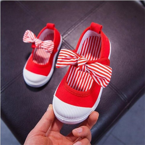 Children Shoes Girls Canvas Shoes Fashion Bowknot loafers Comfortable Kids Casual Sneaker Toddler Girls Princess