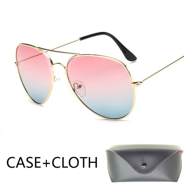 Designer pilot Sunglasses Men pilot sun Glasses Brand Women black mirror retro de sol bag box case sunglasses for men women