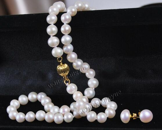 Jewelryr Pearl Set Genuine 7-7.5MM white Akoya Cultured Pearl Necklace earrings set Free Shipping