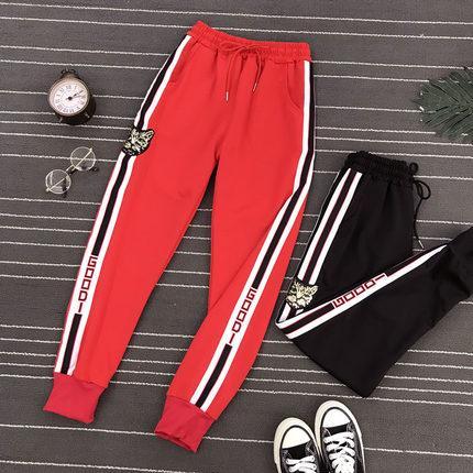 Ins sport pantalons femmes lâche bf style Harajuku tête de tigre paillettes ulzzang étudiant sauvage faisceau pieds section mince sarouel loisirs