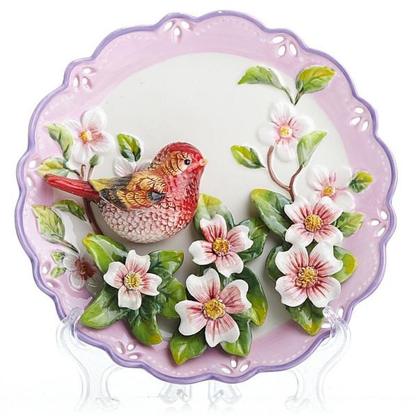 Hochzeit Vögel Blumen Teller VintageWall Geschirr Porzellan Deko Teller Wohnkultur Handwerk Raumdekoration