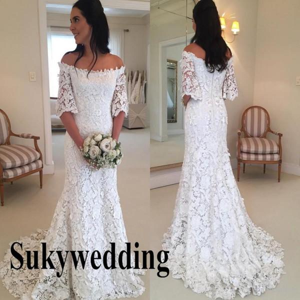 2019 Lace Mermaid Wedding Dresses Off Shoulder Autumn Bohemian Bridal Gowns Zipper Back Plus Size Bridal Gowns Boho Robe de soriee
