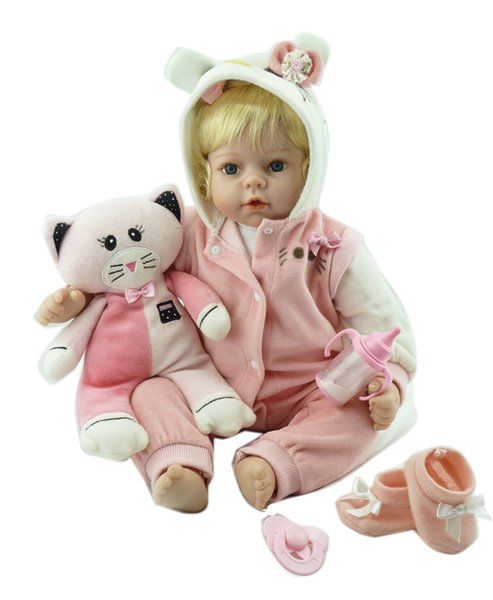Bebe Reborn wholesale reborn baby doll vinyl silicone soft real touch with blonde wig hair doll best gift for your children on Christmas