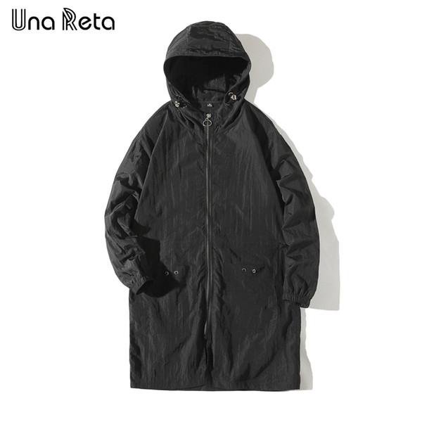 Una Reta hombres rompevientos 2018 Primavera delgada capa de la chaqueta rompevientos Hombres de Hip Hop larga chaqueta con capucha del chándal de moda Streetwear