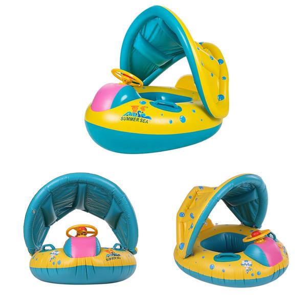 Sichere Aufblasbare Baby Schwimmring Pool Infant Schwimmen Float Einstellbare Sonnenschirm Sitz Baden Kreis Aufblasbare Ring Sommer Spielzeug