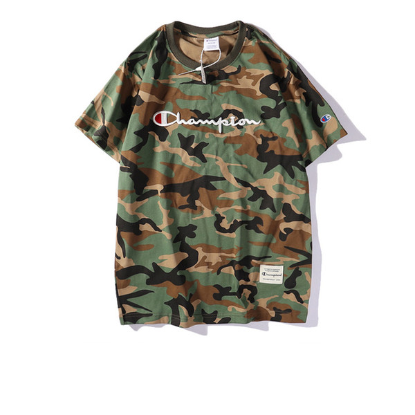 Mens T-shirt 2019 Summer New Designer Brand Clothes Fashion Camouflage Pattern Short Sleeve Trendy Street Style Male's Wear Breathable Tees
