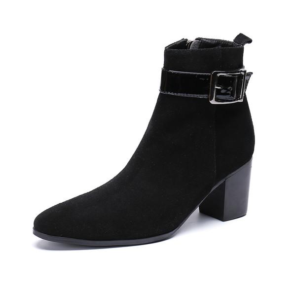 Christia Bella Boucle Sangle Hommes Chaussures En Daim Cuir Bottes Nouvelle Mode Bout Pointu Bottes Grande Taille Fermeture Éclair Cheville