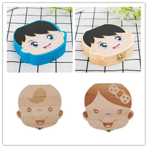 Ins Kids Baby Tooth Box Storage For Kids Save Milk Teeth Boys Girls Color Painting Image Wooden Organizer Deciduous Teeth Boxes Gifts C61406
