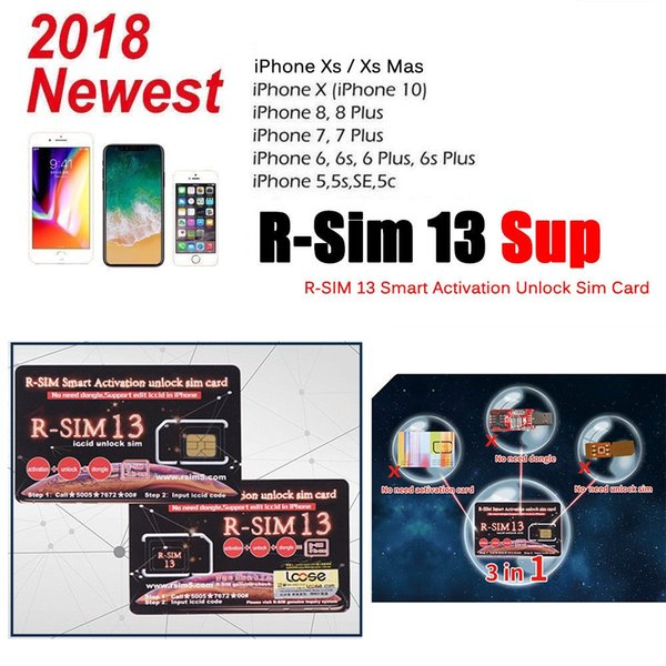 R SIM 13 Rsim 13 Unlocking Card For IPhone 7 8 XS MAX Support Edit Iccid  Smart Activation Unlock SIM Card DHL Cell Unlock Codes Cheap Phone Unlock