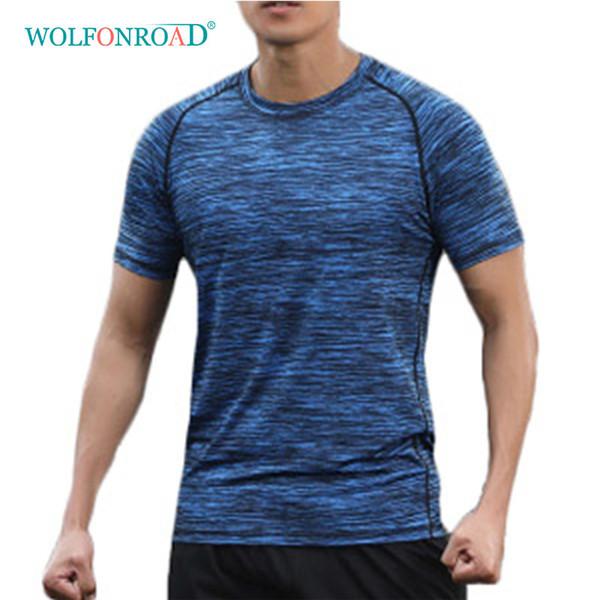 Wolfonroad Summer Man's Quick Dry T Shirts Camping Hiking Tees Man Running Fitness Sport Tshirts Camouflage Tops L-qzpl-11 C19041201