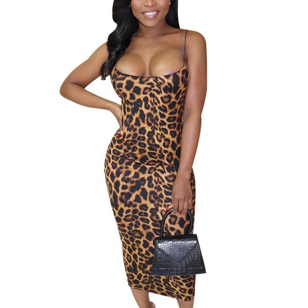 Women Leopard Midi Dresses Sleeveless Spaghetti Strap Sexy Bodycon Ladies High Waist Party Dress Club Wear