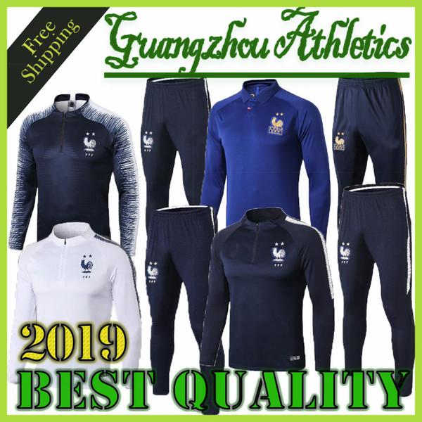top popular New best quality 2018-2019 2 STAR survetement equipe MAILLOT DE FOOT France Paris SURVETEMENT FOOTBALL Tracksuits Training Suits 2019