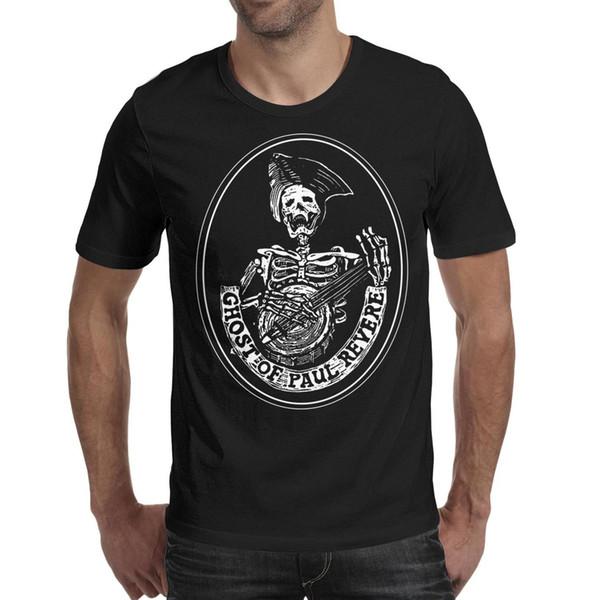 Men design printing Ghost of Paul Revere black t shirt printing funny graphic crazy champion shirts printed t shirt cotton trendy strip