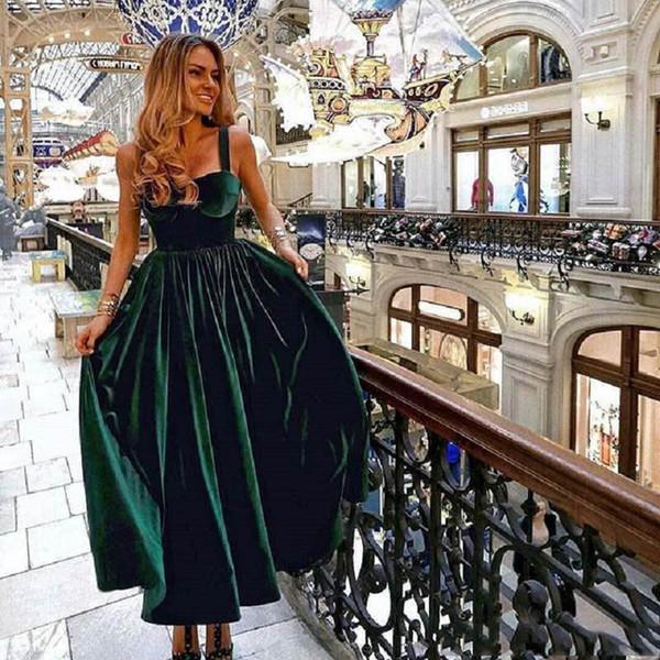 Elegant Dark Green Long Prom Dresses Velet Tea Length custom Made Sexy spaghetti Back Zipper Special Occasion Dresses