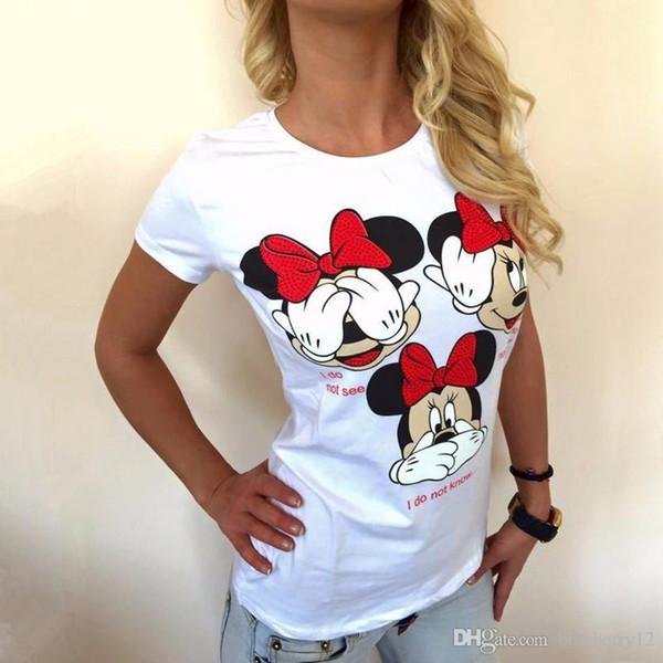 Moda de manga corta para mujer Camisetas Tallas grandes para mujer Camisetas Cartón Carta Imprimir Top O-cuello Mujeres tshirts