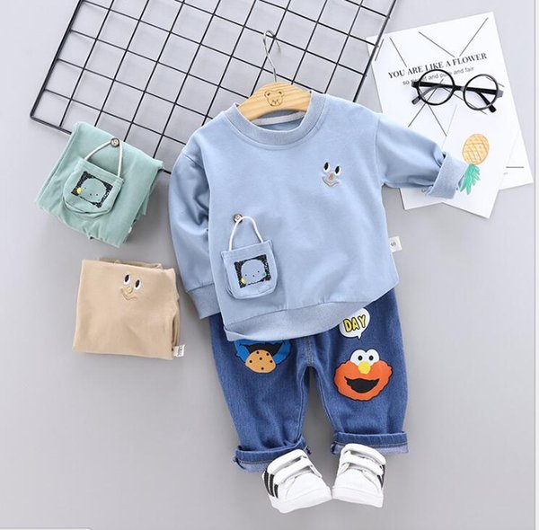 2019 Best-selling new models Children's Suit New Cartoon Casual Boys and Girls'Round Neck Suit and Long Sleeve Jeans Two-piece Suit