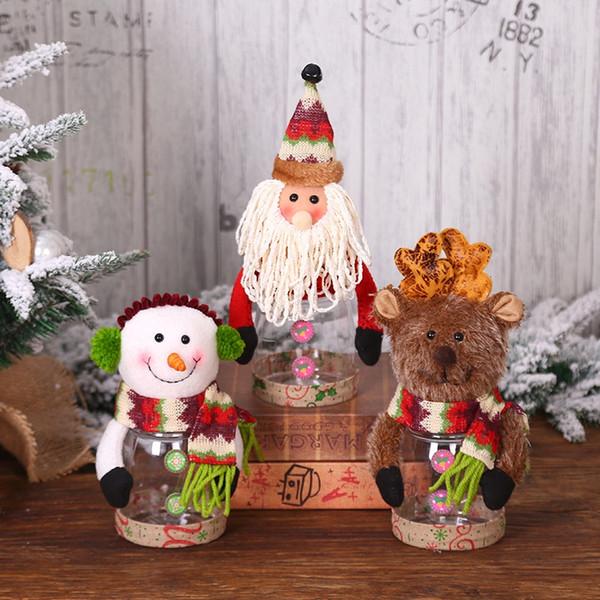 Vendita calda di Natale Ornamento di plastica Trasparente Scatola di caramelle Festa Decorativa Vaso di stoccaggio Contenitore Regalo Portabottiglie Ornamento di Natale