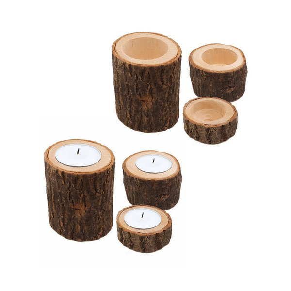 6pc/set Wooden Tree Stump Tea Light Candle Holders, Personalized Wooden Candlestick Candle Holders for Rustic Wedding Party Birthday Holiday
