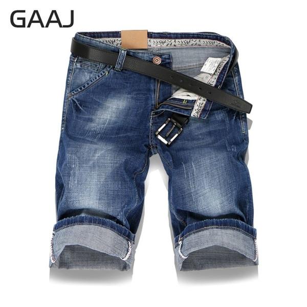 Gaaj 2019 Clássico Jeans Shorts Homens Denim Elástico Masculino Curto Verão Casual Azul Mens Jean Calças Calças Slim Fit Plus Size 38 40 SH190831