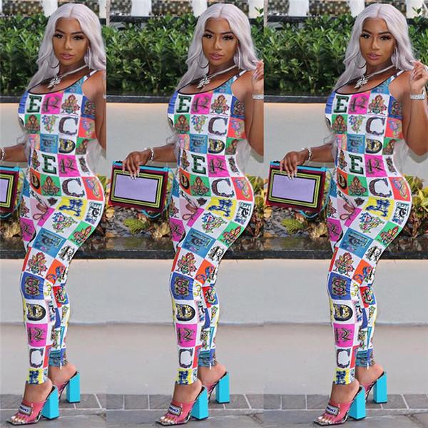 Women Tops Leggings Designer Women Rompers Colored Block Suspenders Summer Jumpsuit Rainbow Letters One Piece Bodysuit Party Clothes C61702