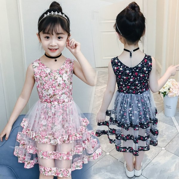 Girls Dress baby clothes 2019 New summer Children's Performance Sleeveless Sweet Cute Floral Ruffle Dress 3-12 years