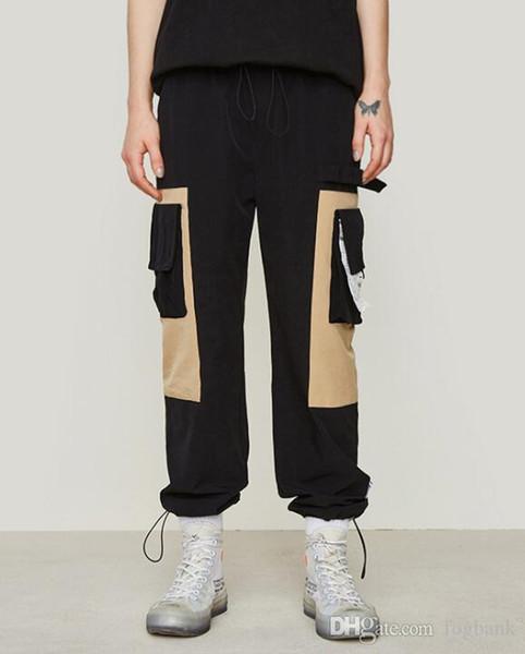 Primavera e estate 2019 Nuova funzione di marca di moda Funzione multi-tasca Cucitura e tirando-corda e piedi da uomo S Pantaloni Sport Pantaloni lunghi