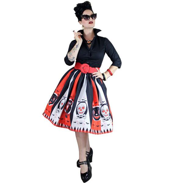 Compre Faldas Para Mujer Con Estampado De Calaveras Vestidos De Diseñador Para Mujer De Halloween Ropa Casual Para Mujer Nueva Aparel A 329 Del