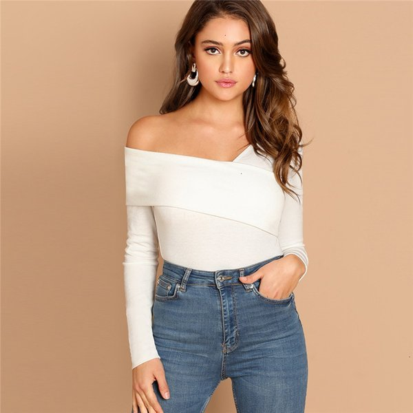 women designer clothes t shirt white asymmetrical neck tee rib knit slim fit party casual pullover shirt autumn women tshirt top