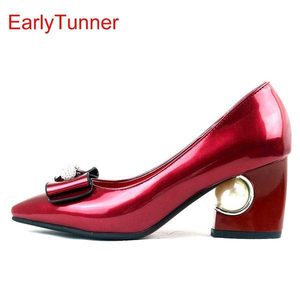 Verkäufe Brand New Fashion Glänzende Frauen Formale Pumps Beige Rot Rosa Schwarz Sexy Lady Hochzeit Schuhe EY6s Perle Plus Große Größe 12 31 48 # 9601